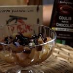 Compote pomme poire au coulis de chocolat